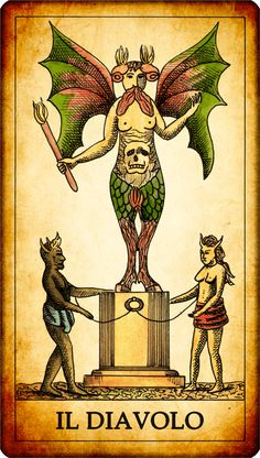 The Devil. N. 15. There is a horned devil with bat wings and legs of animal, placed on a kind of altar and holding a kind of scepter or burning cane. On his abdomen you can see a face, demonstrating how he is driven by the lower instincts. At his feet there are two demons chained to the altar. The Devil is the most negative tarot card. It symbolizes evil, danger, immorality, degeneracy, wickedness, vice. Reversed card: pure evil. In some rare cases it can be referred to unbridled passion.