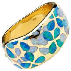 opal and 18k yellow gold bangle bracelet