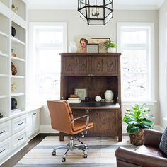Vintage inspired home office desk The Willow Lane House   Bria Hammel Interiors