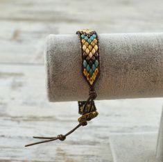 Beaded Wrap Bracelet SuperDuo Wrap Bracelet Boho Wrap | Etsy Beaded Wrap Bracelets, Necklaces, Beadwork, Beading, Boho, Unique Jewelry, Leather, Hama Beads, Jewlery