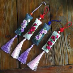 Textile Jewelry, Fabric Jewelry, Ribbon Embroidery, Cross Stitch Embroidery, Felt Crafts, Easter Crafts, Japanese Ornaments, Art N Craft, Hanging Ornaments