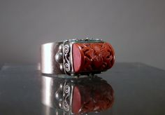 Sterling and Carved Cinnabar Chinese Ring. by DanPickedMinerals, $90.00