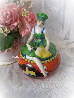 Rare and Unusual Art Deco Porcelain Powder Box