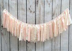 Pink Shabby Chic Garland, Rag Tie Garland, Fabric Garland, Fabric Banner, Nursery Garland, Baby Shower Garland, Baby Shower Banner