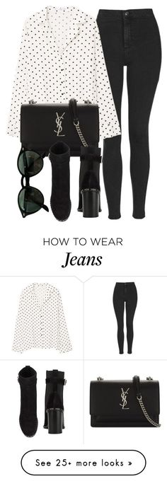 Untitled #7101 by laurenmboot on Polyvore featuring Topshop, MANGO, Yves Saint Laurent, Ray-Ban and rag & bone