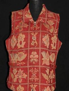 Womens-Christopher-Banks-Burgundy-Gold-Brocade-Tapestry-VEST-Great-Cond-XL pd 16.62
