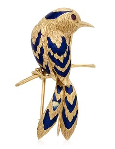 CARTIER Enamel Bird Brooch - Designed as a perched bird of textured Gold and blue Enamel with a Ruby eye Metal: yellow Gold: Dimensions: x 3 cm - Signature: Cartier Paris. Marks: French Gold marks and Maker's mark. Bird Jewelry, Enamel Jewelry, Antique Jewelry, Vintage Jewelry, Jewelry Accessories, Jewelry Design, Jewelry Art, Plum Flowers, Beaded Flowers
