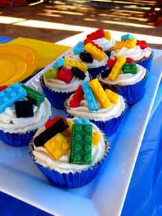 Lego cupcakes with vanilla flavored chocolate (candy melts) Legos