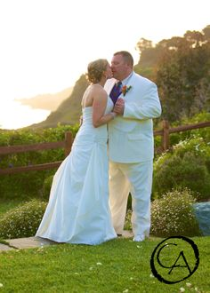 A Sun Set Kiss for a bride and groom at the Albion River Inn | By Christopher Armstrong Photography
