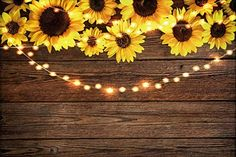 Funnytree Sunflower Wood Texture Backdrops for Photography Rustic Child Baby Shower Birthday Party Background Banner for Picture Photo Studio Photobooth Decoration