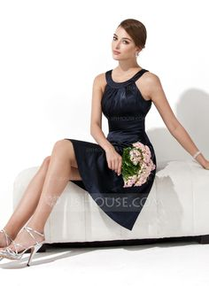 [US$ 89.99] A-Line/Princess Scoop Neck Knee-Length Charmeuse Bridesmaid Dress With Ruffle