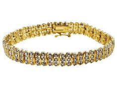 "Diamond .25ctw Round Sterling Silver And 18k Yellow Gold Silver Bracelet 7.5""   http://stores.ebay.com/JEWELRY-AND-GIFTS-BY-ALICE-AND-ANN"
