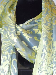 Lovely Handdyed devore scarf of rayon satin on by Fruitjarstudio, $22.00