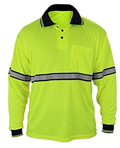 First Class Two Tone Polyester Polo Shirt with Reflective Stripes Yellow at Amazon Men's Clothing store:
