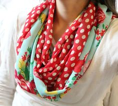 LOVE this handmade sweet peony and polka dot infinity scarf. Perfect for Valentines Day and Spring right around the corner! Re-pin for fashion inspiration or great gift idea! Starting at $8 and available in Mommy & Me sets for extra cuteness.  #AmanaDesign #infinityscarf #valentinesdayfashion #valentinesdaygiftforher