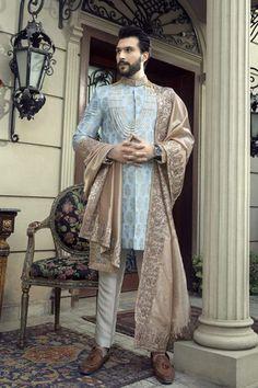 Blue Sherwani, Sherwani Groom, Mens Sherwani, Sherwani For Men Wedding, Wedding Dress Men, Pakistani Wedding Outfits, Wedding Wear, Indian Outfits