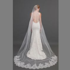 2015 cheap Vintage White Ivory Long Wedding Bridal Veil lace applique edge Layer tulle Wedding Accessories-in Bridal Veils from Weddings & Events on Aliexpress.com | Alibaba Group