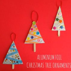 Aluminum Foil Christmas Tree - Crafts for Kids Christmas Crafts For Toddlers, Christmas Card Crafts, Easy Crafts For Kids, Craft Activities For Kids, Christmas Activities, Christmas Decorations To Make, Toddler Crafts, Kids Christmas, Christmas Tree Ornaments