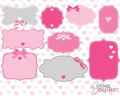 Clipart Label Frames Valentine's Day Set by SonyaDeHartDesign Printable Labels, Printable Stickers, Planner Stickers, Free Printables, Frame Clipart, Art Clipart, Saint Valentine, Valentines, Diy And Crafts
