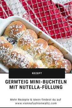 Germteig-Rezept | Mini-Buchteln mit Nutella-Füllung Hot Dog Buns, Hamburger, Bakery, Sweets, Drinks, Mini, Nutella Recipes, Chocolate Candies, Marmalade