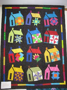 On our display walls this month we have some quilts made by Mary Ann Karpinski! House Quilt Block, Quilt Blocks, Barn Quilts, Children's Quilts, Applique Quilts, Colorful Quilts, Bright Quilts, Homemade Art, Sampler Quilts