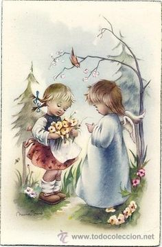 Vintage Pictures, Art Pictures, Holly Hobbie, Precious Children, Faith In God, Big Eyes, Vintage Cards, Childhood Memories, Easter Eggs