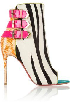 Christian Louboutin | Triboclou 100 zebra-print calf hair and python ankle boots | NET-A-PORTER.COM