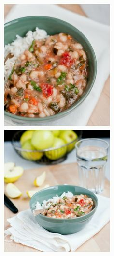 Slow Cooker Vegan White Bean Vegetable Stew from Cafe Johnsonia; beans plus a healthy serving of greeks in this stew that's perfect for those cold spring nights. [via Slow Cooker from Scratch] #SlowCooker #Vegan #GlutenFree #SBDPh2