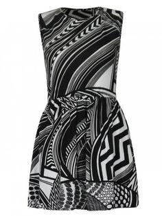 KarmaClothing Black White Monochrome Zig Zag Sleeveless Doll Skater Mini Dress