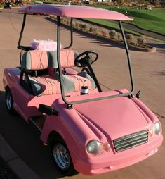 pink golf cart  for me and Melissa when we are old and still trying to be Elle woods and Cher from clueless