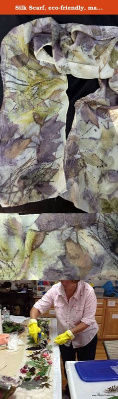 """Silk Scarf, eco-friendly, maple, rose, all natural plant leaves art 11 x 70"""". Silk scarf eco-printed with maple, roses and pine to create an all natural design. Size 11"""" x 70"""", 100% pure silk. This is a lightweight, more sheer silk. Soft and flowing. You can see the shades of bronze, brown, gold, greens and clear leaf designs the length of the scarf. Comes with a tag with the story of its making. Only 1 available. Ready to ship. Easy care: Hand wash cold water (mild soap) drip dry or…"""