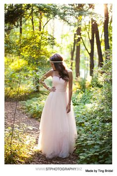 Simply Blush long tulle wedding gownmade to order in by TingBridal, $950.00