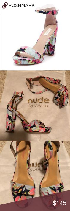 """Nude Footwear Floral Heels From Revolve Clothing Purchased in revolve clothing perfect condition. I put in the shoe pad. Can be taken out. heel height is approx 4"""". Platform is approx 1"""" #revolve #revolveclothing nude footwear Shoes Heels"""