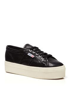 Superga Lace Up Platform Sneakers - Perforated Leather | Bloomingdale's