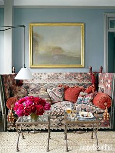 Great kilim sofa and sconce // living room design