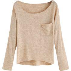 Apricot Pocket Dip Hem T-shirt ($16) ❤ liked on Polyvore featuring tops, t-shirts, beige t shirt, pocket tops, pocket t shirts, pocket tees and beige top