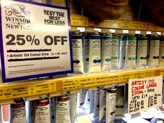 25% off artist oil colour series 1 and 2. Also big discounts on big tubes