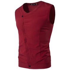 Casual Fashion Oblique V Neck Sleeveless Dress Shirts ($15) ❤ liked on Polyvore featuring men's fashion, men's clothing, men's shirts, men's dress shirts, men shirts, red, mens banded collar dress shirts, mens sleeveless dress shirts, mens short sleeve dress shirts and mens slim fit short sleeve shirts