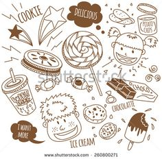 various #snack with happy #kids in #doodle style #design #graphic #vector #illustration #food