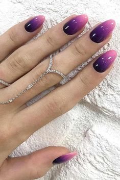 26 Glam Ideas For Ombre Nails Plus Tutorial. Try ombre nails – one of the most recent hot trends. Nails Yellow, Purple Ombre Nails, White Nails, Ombre Color, Black And Purple Nails, How To Ombre Nails, Acrylic Ombre Nails, Ombre Nail Colors, Purple Nail Art