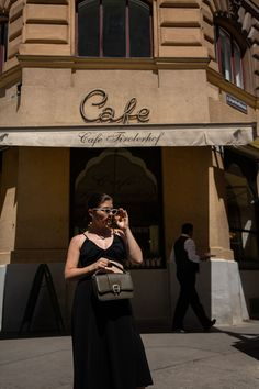 COFFEE RUN // Aigner Verona Bag + Arket Wrap Skirt + The Row Ginza Sandals — VIENNA WEDEKIND Kelsey Simone, Minimal Fashion, Matilda, Verona, The Row, Style Inspiration, Bags, Skirt, Coffee