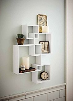 Generic Intersecting Squares Wall Shelf - Decorative Display Overlapping Floating Shelf - Home Decor Wall Art - Interlocking Shelves/Wall Cubes/Storage Cubes/Ledge Storage/Wall-Mounted Hutch, Set of 2 Candles Included - White - My Interior Design Ideas Unique Wall Shelves, Wall Shelves Design, Hanging Shelves, Wood Shelves, Shelf Display, Glass Shelves, Corner Shelves, Cube Shelves, Decorative Shelves