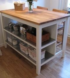For more storage, space, and seating- butcher block island