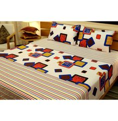 Cotton Bedsheets with Two Pillow Covers