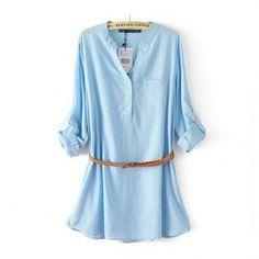 Women shopping fashion V-neck long sleeve shirts