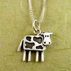 Tiny cow necklace / pendant by StickManJewelry on Etsy Silver Necklaces, Silver Jewelry, Silver Casting, Bee Creative, Metal Clay Jewelry, Precious Metal Clay, Cute Jewelry, Jewlery, Necklace Designs
