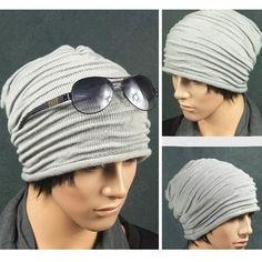 Unisex Mens Womens Folds Slouchy Beanie Winter Fall Wool Hat Knit Hat Skull  Cap b8d95cde28a