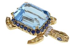 Rare Cartier Aquamarine Turtle Brooch