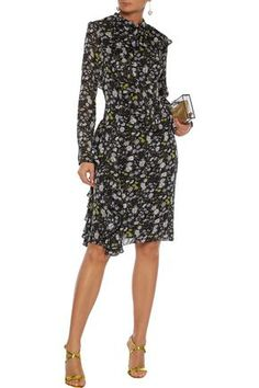 Shop on-sale Ruffled floral-print burnout crepe de chine dress. Browse other discount designer Knee Length Dress & more luxury fashion pieces at THE OUTNET Dresses For Sale, Dresses For Work, Black Ruffle, World Of Fashion, Dress Outfits, Luxury Fashion, Floral Prints, Cold Shoulder Dress, Clothes For Women