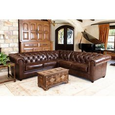 Abbyson Living Tuscan Tufted Top Grain Leather 3-Piece Sectional Sofa - 18535061 - Overstock.com Shopping - Big Discounts on Abbyson Living Sectional Sofas